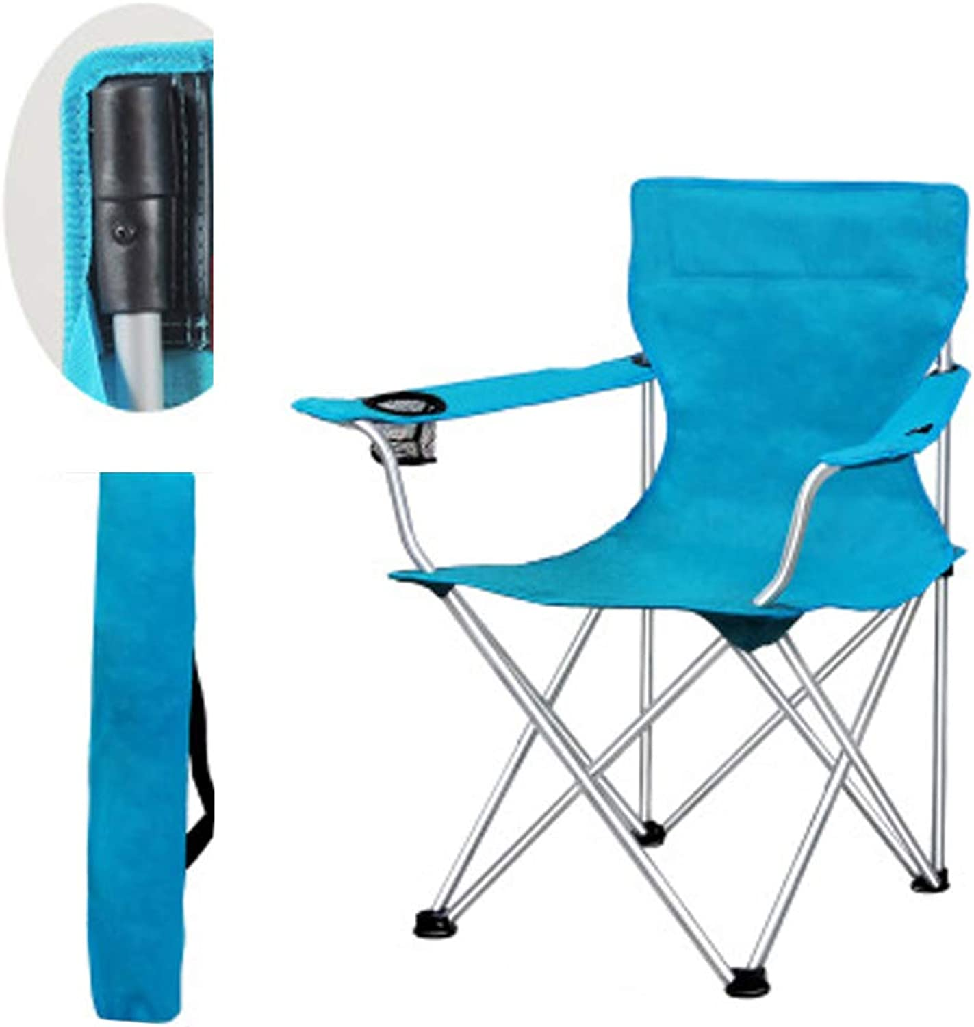 Oversized Quad Folding Camping Chair High Back Cup Holder Hard Armrest Carry Bag Included, Support 264 lbs,Skybluee