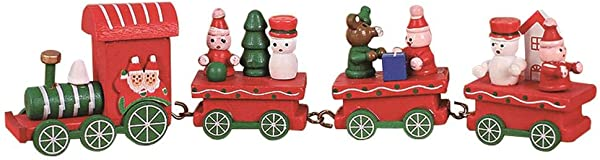 NEILDEN Upgraded Version Christmas Train Decor Gift Cute Wooden Mini Train Kids Gift Toys For Christmas Party Kindergarten Decoration Red