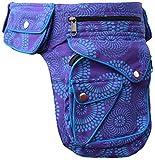 Gheri - Riñonera de algodón con bolsillos con cierre a presión, para viajar, color Morado (, tamaño Talla única