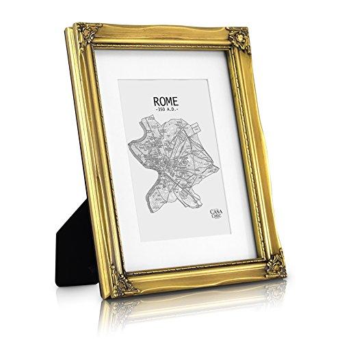 Marco de Foto A4 - Marco Barroco - Frente de Vidrio - con Paspartú para Foto 20x15 cm - Ancho del Marco 2,5 cm - Estilo Rococo Shabby Chic - Oro Antiguo