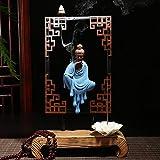 TaoRan Weihrauchbrenner Zen Farbe Sand Guanyin Büro Zen Dekorationen weichen Rückfluss Weihrauchbrenner Keramik Ornamente kreative Holz Handwerk Geschenke-Wu Chan Guanyin - Farbe Sand