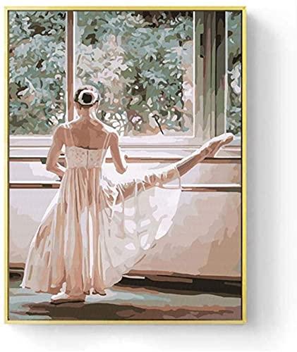 SXXRZA Cuadro magnífico 60x80cm Sin Marco Bailarina Bailarina Pintura en Lienzo Pintor Famoso Pintura Abstracta Ballet Girl Mural Imagen de Arte Moderno nórdico