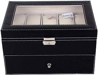 HEMFV Watch Box 20 Slot Display Case Organizer Mens Watch Organizer Jewelry Display Case Black