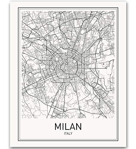 Milan Poster, Milan Map, Milan Art, Map of Milan, City Map Posters, Milan Map Art, Italy Poster, Italy Map, City Prints, City Poster, Italy Wall Art, Modern Map Art, Black and White, 8x10