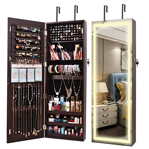ORAF LED Wall Door Mirror Full Length Jewelry Cabinet Armoire Hanging Jewelry Organizer Box over the Door Wall Mounted Mirror with Intelligent Switch 3 Adjustable LED Lights Colors Brown