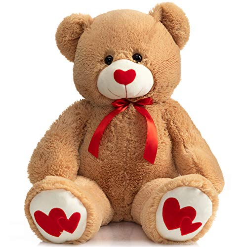 HollyHOME Giant Teddy Bear Stuffed Animal Large Bear Plush with Red Heart for Girlfriend and Kids Valentine