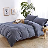 EMME Duvet Cover 3-Piece Set Washed Cotton Premium Bedding Collection Comforter Cover with 2 Pillow Shams Solid Color Hypoallergenic Wrinkle and Fade Resistant (Denim, Full/Queen)
