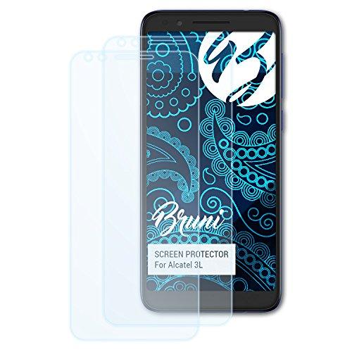 Bruni Schutzfolie kompatibel mit Alcatel 3L Folie, glasklare Bildschirmschutzfolie (2X)