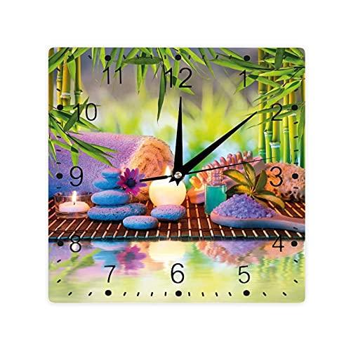 Piedras Velas Eastern Yoga Relajación Meditación Bambús Impresión Color Cuadrado Morden Reloj Slient