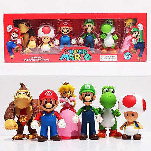 Super Mario Sammelfiguren 6er Pack - Donkey Kong, Toad, Mario, Luigi, Yoshi, Peach - Größe: 10-15cm