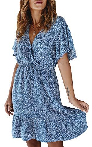 ECOWISH Women's Polka Dot Cotton Dress Elastic Waist Short Sleeve Boho Pleated Swing Ruffles Dresses 040Blue Large