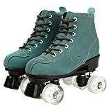 Comeon Classic Roller Skates,Unisex High-top 4 Wheel Roller Skates Double Row Roller Sskates for Boys and Girls (Blue Does not Flash White Round,US:9)