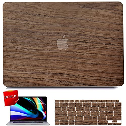 iPAPA Compatible with MacBook Air 13 inch Case 2020 2019 2018 Release A2337 M1 A2179 A1932 Touch ID, Wood Protective Plastic Hard Shell Case + Keyboard Cover + Screen Protector, MacBook Air 2020 Case