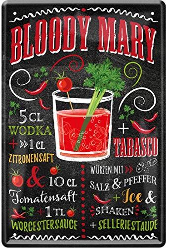 Bloody Mary Cocktail Rezept Wodka Tabasco Pfeffer Tomatensaft 20 x 30 cm Bar Party Keller Deko Blechschild 431