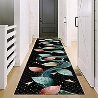 黒の背景と色の葉のデザインの廊下ランナーカーペット、廊下の入り口の階段の滑り止めの入り口のマット、キッチンとバスルーム用の防水バック滑り止めエリアのカーペット,70X100cm