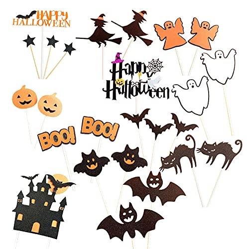 Topper De La Magdalena De Halloween, Envoltorios De La Magdalena De Halloween, Toppers De Halloween Toppers Decoraciones Calabaza Decorativo Diente Palillo Marina Marcas Suministros De Fiesta