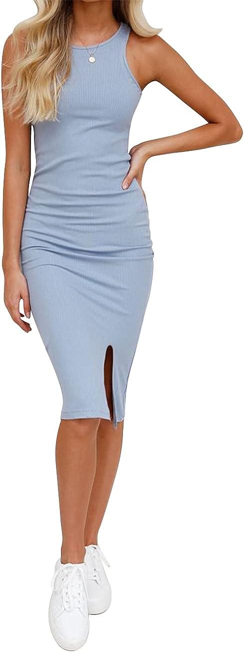 Rocorose Women's Sexy Bodycon Dress Summer Casual Round Neck Elastic Sleeveless Slit Midi Tank Dresses