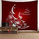 KnBoB Tapiz Pared Decorativo Árbol de Navidad Luz de Estrellas Copos de Nieve 200 x 200 CM Tapiz Poliéster Anti Arruga