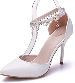 Pointed Toe Pumps High Heel Ankle Strap Shoes Wedding Party Pump with Pearl 3.54""