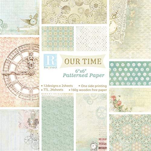 persiverney-AT Álbum de 24 álbumes de Papel de Fondo Papel Decorativo Hecho a Mano Origami DIY Caja de Regalo 15X15cm Practical