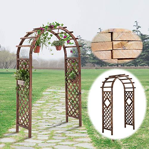 SYLJ Eingangspergola Rosenbogen Holz Torbogen,120x50x210 cm Rankhilfe Pergola Rankgitter Spalier, Rosenspalier, Rankhilfe, Rundbogen, für Kletterpflanzen