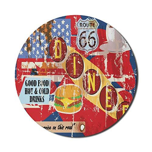 Route 66 Mauspad für Computer, Grungy Diner Werbung mit Stars der amerikanischen Flagge Food Drinks Typografie, rundes rutschfestes dickes Gummi Modern Gaming Mousepad, 8 'rund, mehrfarbig