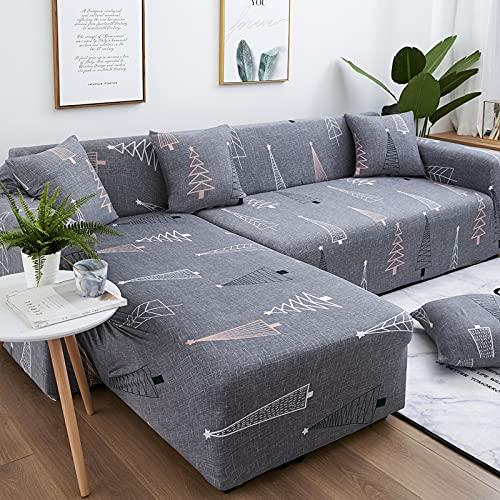 WXQY Chaise Longue Funda de sofá elástica para Sala de Estar combinación elástica Funda de sofá de Esquina Funda de sofá en Forma de L sofá A10 4 plazas