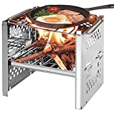APROTII <span class='highlight'>Square</span> wood stove outdoor barbecue mini <span class='highlight'>charcoal</span> stove folding barbecue outdoor camping folding barbecue equipment cooking utensils with storage bag