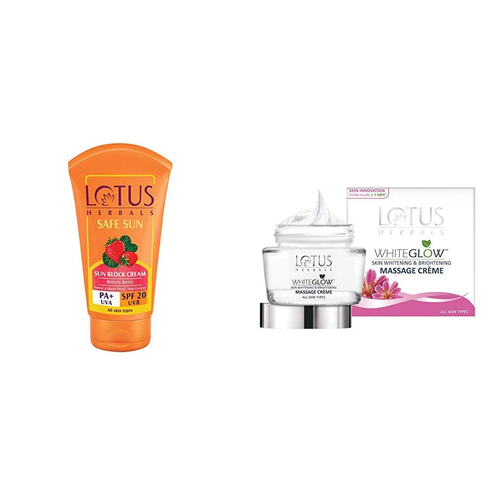 Lotus Herbals Safe Sun Block Cream SPF 20, 50g & Herbals Whiteglow Skin Whitening And Brightening Massage Creme, 60g Combo