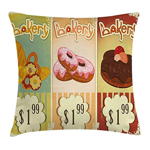 FAFANI Vintage Throw Pillow Cushion Cover, Bakery Collection of Delicious Pastries Deserts Doughnuts and Cakes with Price Tags, Decorative Square Accent Pillow Case, 18 X 18 inches, Multicolor