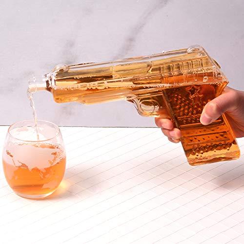 KOSIEJINN Decantador de Pistola de Whisky Dos Decantadores en Forma de Pistola y una Caja de Almacenamiento Clásica con Piedra de Hielo para vino Brandy Bourbon Scotch Accesorios para Fiestas