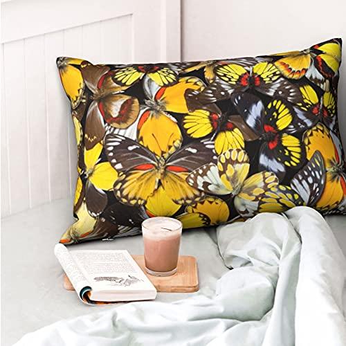 VVSADEB Funda de almohada de color mariposa de 50 x 70 cm, funda de almohada con cremallera, suave y acogedora, arrugas, tamaño estándar 1 paquete
