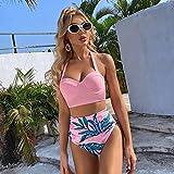LDOR Mujeres Push Up Sexy Bikini Set Halter Traje De Baño De Cintura Alta Ropa De Playa De 2 Piezas,Rosado,L 6