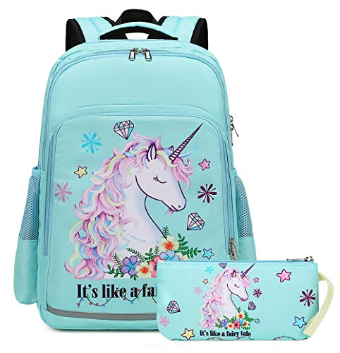 Girls Backpack Elementary Kids Fairy Bookbag Girly School bag Children Pencil Bag (Water blue - Fairy tale unicorn 2pcs)