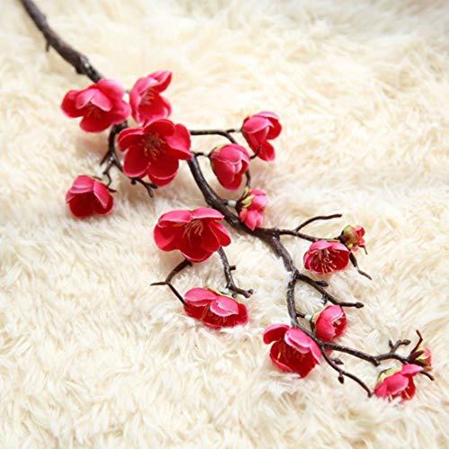 yueyue947 Flores de Seda Artificial Flores deCerezo FloresFalsasRamas de los árboles de SakuraBodaDecoración de la habitación en casa Flor roja Rosa 3 pcs