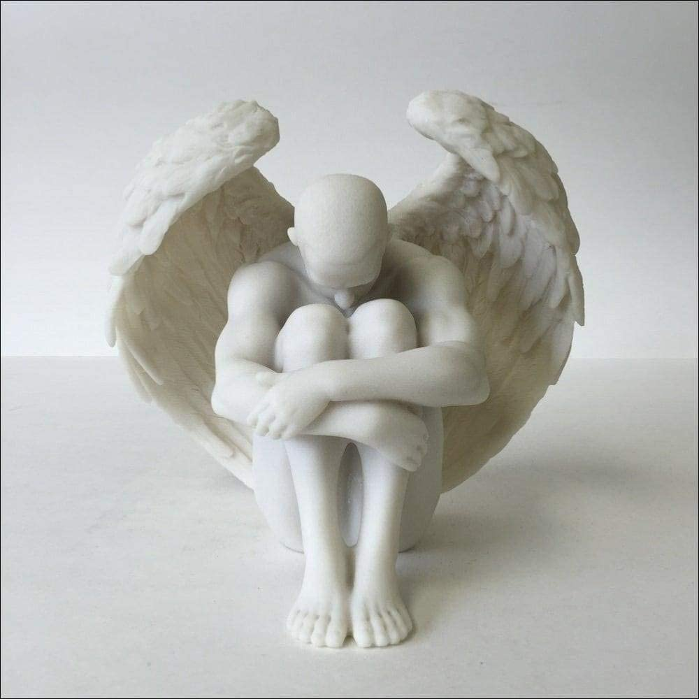 Male latest Nude Direct sale of manufacturer Angel Holding Knees Statue Sculpture
