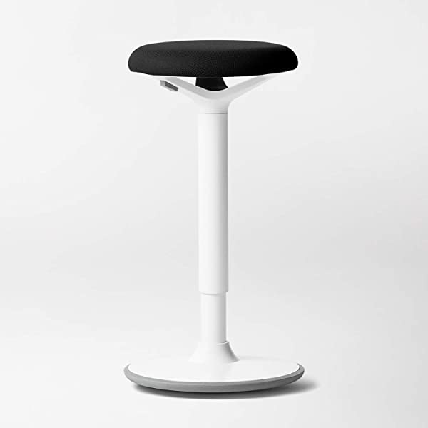 Luna Standing Desk And Task Stool Ergonomic Balance Office Chair Slip Resistant Rubberized Base White