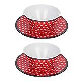 Alvinlite Salatplatte Dessertschale Mittagsteller Imitation Porzellanschale Geschirr Set Red Dots...
