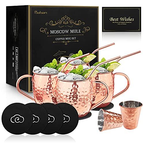 BABAN Moscow Mule Kupferbecher: Umfasst 4 x Becher 500ML, 4 x Untersetzer, 4 x Strohhalme, 2 x Shotglas 60ML in Geschenkbox Liebhaber