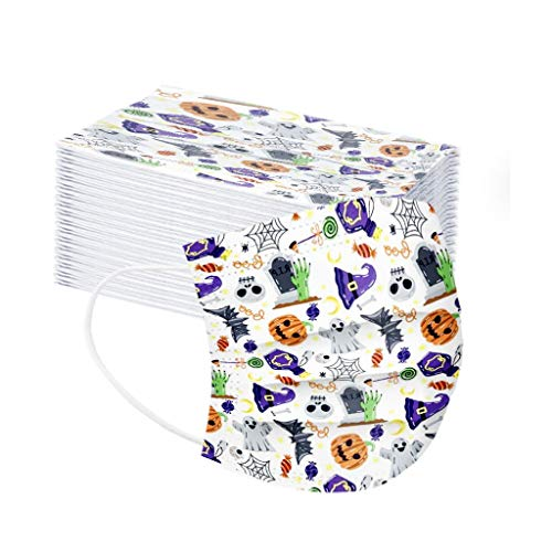 Halloween Day 10/20/30/40/60/70/80/90 PC Adult Floral Print Adjustable Safet Protect Washable Cotton Mask For Indoor Outdoor