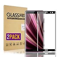 【2枚セット】Sony Xperia XZ3 ガラスフィルム 強化ガラス液晶保護フィルム【2019進化版・全面保護】【3D曲面】3D Touch対応/業界最高硬度9H/防爆裂/高透過率/防塵/自動吸着/指紋防止/画面鮮やか高精細 貼り付け簡単(ブラック)