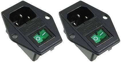 2 Pcs Power Socket w Switch Fuse 3 Pin IEC320 C14 Inlet Module Plug 5A Fuse Rocker Switch Male Power Socket 10A 250V Green Light