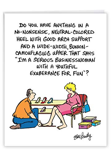 Hilarious No-Nonsense Heel Birthday Greeting Card with Envelope (Large 8.5 x 11 Inch) - Big and Funny Happy Birthday Surprise for Women - Personalized Adult Humor Bday Stationery J6379BDG