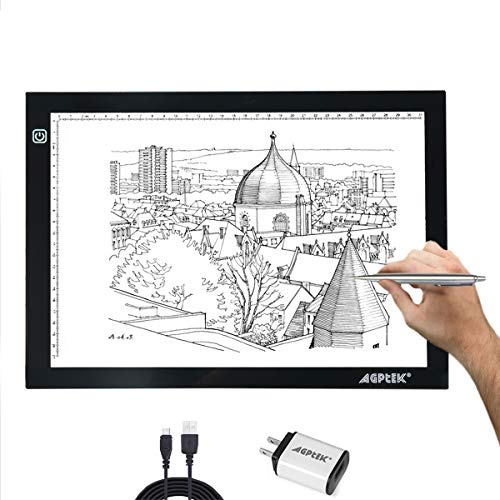 AGPtek A4 Ultra-thin Portable LED Artcraft Tracing Light Pad USB-Cable Wall Adapter Powered Stepless brightness control For Artists, Drawing, Sketching, Animation, X-ray Viewing, Sewing