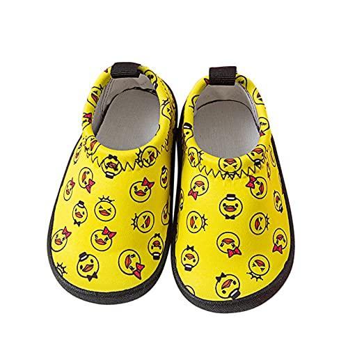 Zapatos antideslizantes para bebés de 6 a 12 meses, para niñas, jóvenes, pequeños, suelos, cómodos, con dibujos animados, para aprender a caminar, calcetines de suelo para niños, amarillo, 21