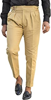 Mens Casual Gurkha Pants Buckle Button Waist Pleated Tapered Cotton Trousers