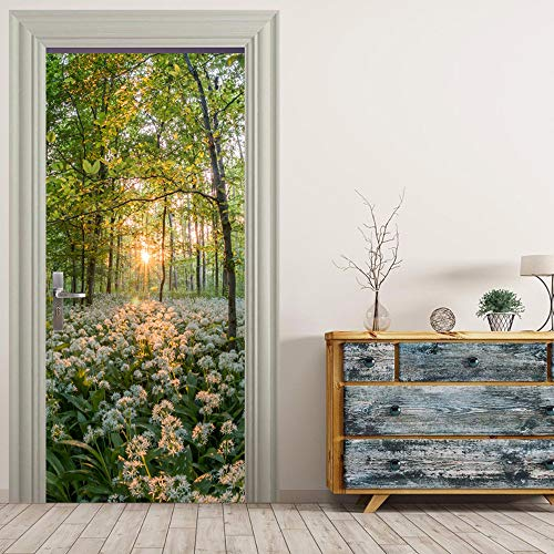 Puerta Pegatinas Mural Sunrise Forest Flowers And Grass Landscape Impermeable Autoadhesivo Fotomurales Pared 95 x 215 cm