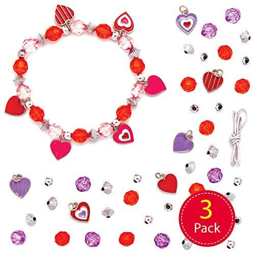 Baker Ross Hart bedelarmband knutselsets voor kinderen (3 stuks) creatieve set om te knutselen voor Valentijnsdag