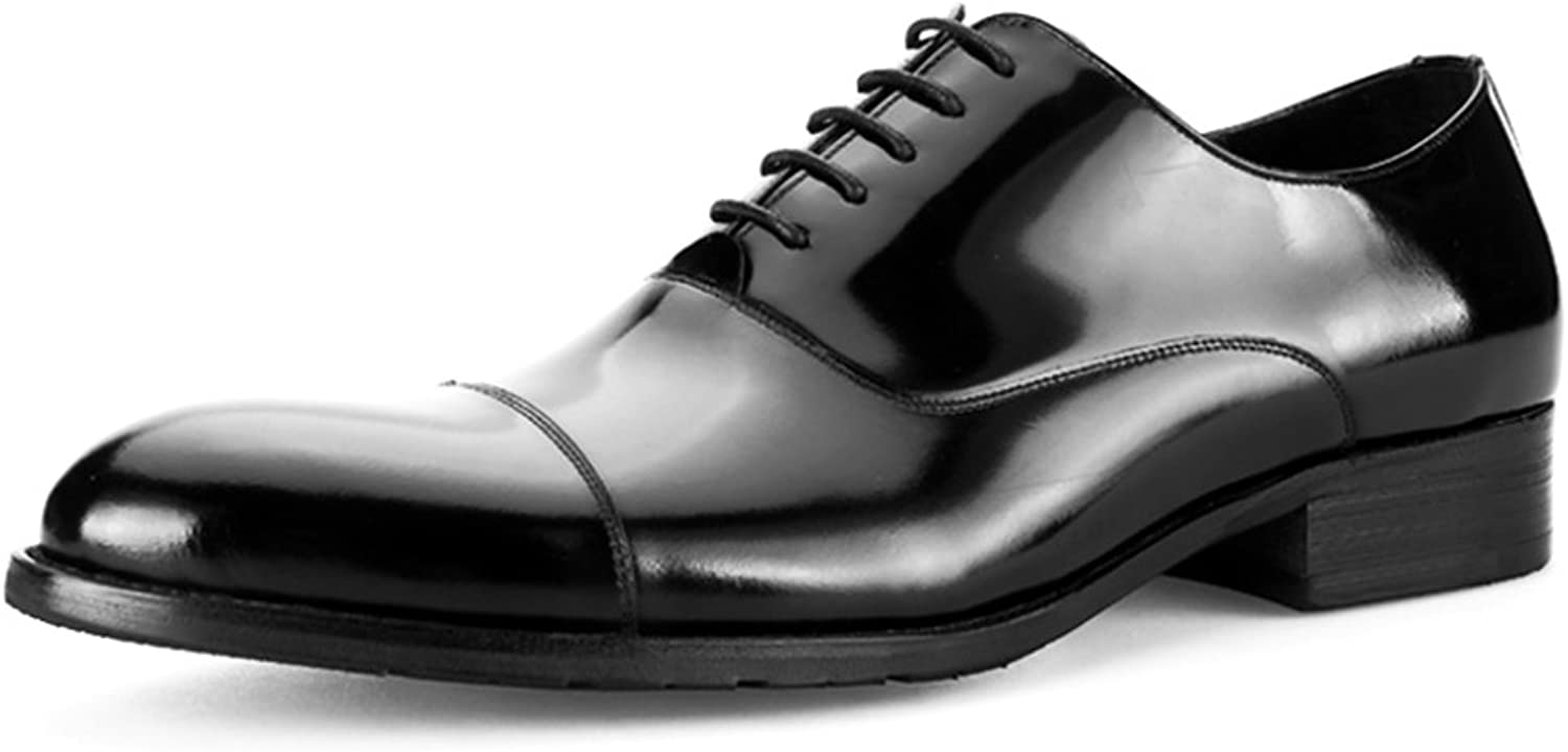 SHANHEYY Men's Enameled Leather Oxford shoes Lace Ups Derby Real Leather shoes Brogues