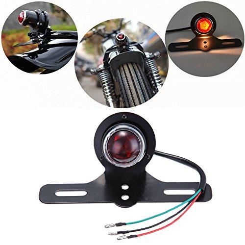 Feu arrière de moto, 12 V, lentille rouge, feu de frein arrière de moto avec support de plaque d'immatriculation.